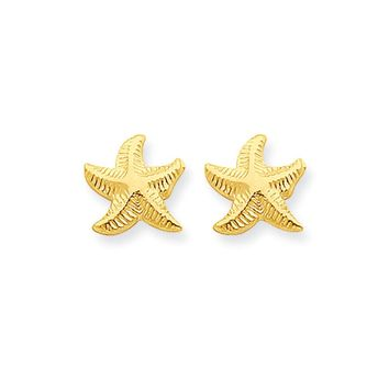 9mm Textured Starfish Post Earrings in 14k Yellow Gold