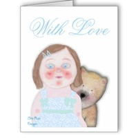 Pretty girl with cute to bear greeting card