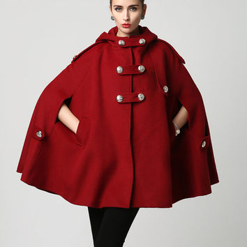 Wine Red Wool Cape - Warm Winter Cape -  Hooded Cape -Womens Outerwear - Coat (1130)