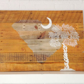 Wooden South Carolina Flag Painted Orange Clemson Tigers