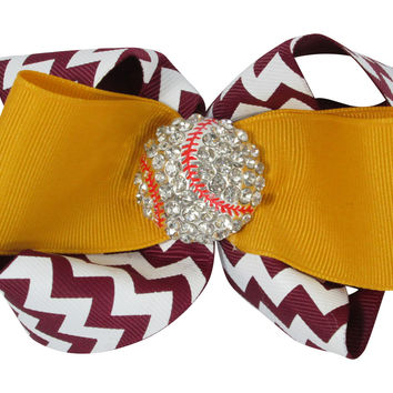 Chevron Baseball Bling Hair Bow