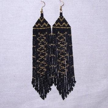 Native American  Beaded Earrings  Inspired. Gold Black  Earrings. Long Earrings.  Beadwork.