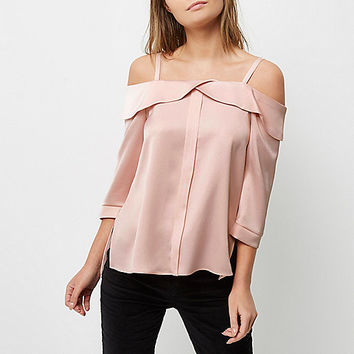 Blush pink placket cold shoulder top - bardot / cold shoulder tops - tops - women