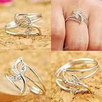 HOT Lovely Cute Retro Fashion Silver Leaf Crystal Rings Wholesale Free Ship FJ74
