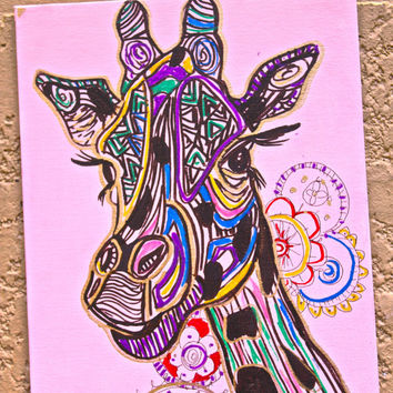 Abstract Tribal Giraffe Wall Hanging/Painting ,Mandala Design