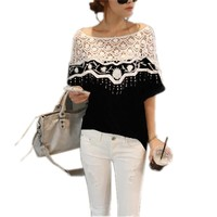 ZNAZEA Women Lace Shirt Blouse Loose Embroidery Hollow Batwing Tee Top