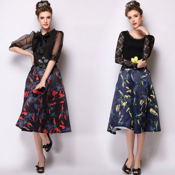 Belted Printed A-Line Pleated Midi Skirt