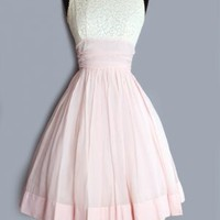 1950's Pink & Cream Lace Tea Length Cotton Dress - M 50's VINTAGE WEDDING & BRIDAL DRESSES Tea Length :