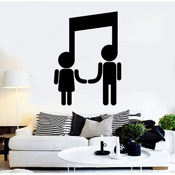 Vinyl Wall Decal Musical Couple Music Art Note Stickers Mural Unique Gift (461ig)