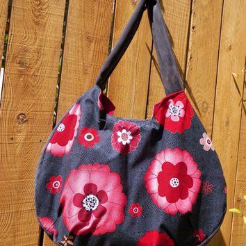Bold Blooms in Red on Black Le Croissant Sac Collection Hobo Style Large Shoulder Bag
