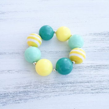 Yellow and Teal Bubblegum Necklace, Girl Toddler Necklace, Kids Chunky Necklace, Baby Bubblegum Necklace, Bubblegum Bracelet, Kids Boutique