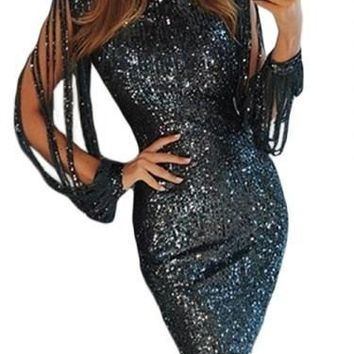 Black Sequin Tassel Sleeve Bodycon Party Dress