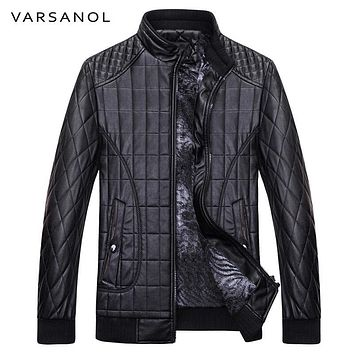 Men Jackets Long Sleeve Warm Thick Bomber Jackets Zipper With Pocket Leather Jackets Slim Coat