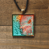 Teal and Orange Handpainted Necklace,Resin Jewelry,Wearable Art,Pebeo Necklace,Abstract Jewelry,Pebeo Jewelry,Artisan Jewelry,OOAK Jewelry