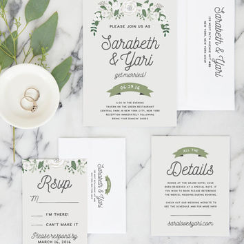 Rustic Wedding Invitation Suite, Wedding Invitation Set, Printable Invitation Set, DESIGN FEE ONLY - The Nolan Set