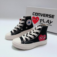 CDG Play x Converse Chuck Taylor 70s All Star High Top Black White Canvas Child Sneaker Toddler Kid Shoes - Best Deal Online