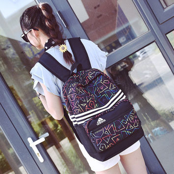 """Adidas"" Fashion Casual Male Female Student High Capacity Clover Geometric Patterns Waterproof Travel Movement Backpack"