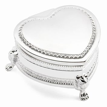 Silver-plated Heart Footed Jewelry Box - Engravable Personalized Gift Item