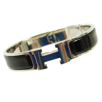 Auth HERMES Vintage H Logos Clic Clac Bangle Silver Black Accessories AK16150