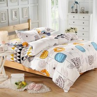 Floral Pattern 100% Cotton 4-piece Duvet Cover Set Best for College Dorm 1x Duvet Cover 2x Pillow Covers 1x Bedspread Queen