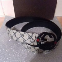 New and Unusual!! Mens Gucci Grey mini print GG logo leather Belt with Black GG