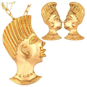 U7 Indian Jewelry Punk Mohawk Gold Color Jewelry Set Trendy Party Earrings Necklace Set For Women S734