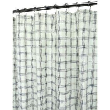 Ultra Spa by Park B. Smith Stripe Check Fabric Shower Curtain (White)
