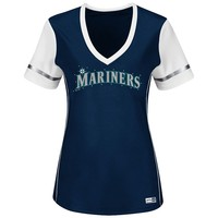 Majestic Seattle Mariners Curveball Babe Tee - Women's Plus, Size: 2X (Blue)