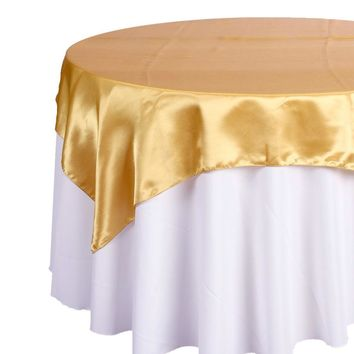 Satin Fabric Table Cover Overlay, 72-Inch x 72-Inch
