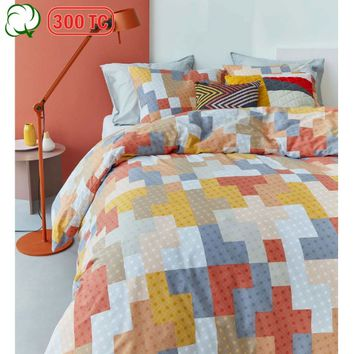 300TC Cotton Percale Maipu Coral Quilt Cover Set by Bedding House