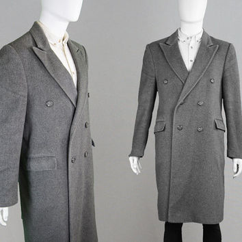 Vintage 60s TAKE SIX Grey Wool & Cashmere Coat Mod Coat Mens Peacoat Large L Carnaby Street Mens Trench Coat Pea Coat 1960s Overcoat Double