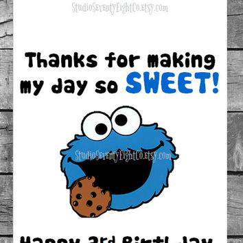 Cookie Monster - Sesame Street Birthday Candy Buffet Bags - Candy Treat Bags - Personalized Favor Bags -Candy Buffet Bags - Popcorn Bag -104