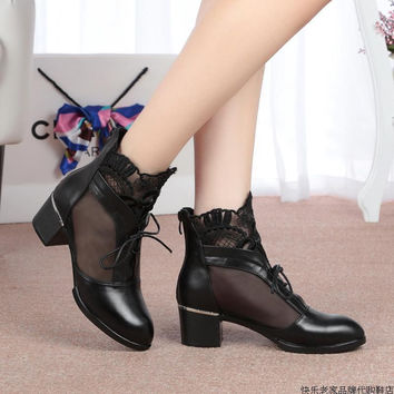 Lace Up Thick Mid Heel Genuine Leather Lace Gauze Cut Out Summer Lady Sandals Ankle Boots Lady Grenadine Plus Size 35-43 SXQ0527
