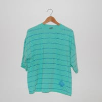 Vintage 80s/Early 90s Ocean Pacific Striped Turquoise Zack Morris T-Shirt
