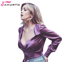Jahurto Purple Blouse Sexy Criss-Cross V-Neck Long Sleeve Shirt Women Cute Bow Front Cropped Satin Women Shirts Blouses