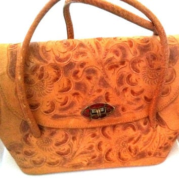 Vintage Chavez Hand Tooled Leather Purse
