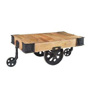 Industrial Wood Cart Coffee Table