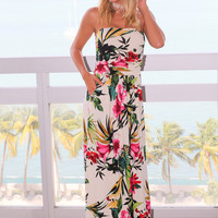 Ivory Tropical Floral Print Maxi Dress with Pockets