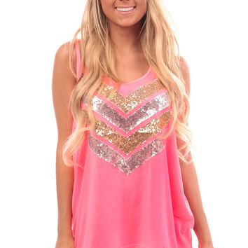 Bright Pink Sequin Embellished Chevron Tank Top