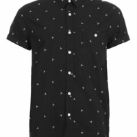 Black White Geometric Embroidery Short Sleeve Shirt - TOPMAN USA