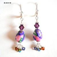 Purple flower dangle earrings on pink beads with Swarovski crystals