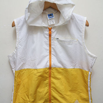 Vintage ADIDAS Sleeveless Hoodies Jacket Windbreaker White + Yellow Size M
