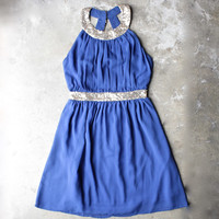stepping out pleated halter dress with gold sequin - blue