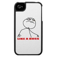 like a boss internet meme comic rage iPhone 4 cases from Zazzle.com