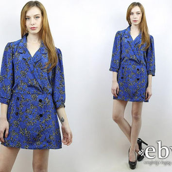 Vintage 80s Blue Crossover Secretary Dress L XL Blue Dress Day Dress Work Dress L Dress Xl Dress Crossover Dress 80s Dress Mini Dress