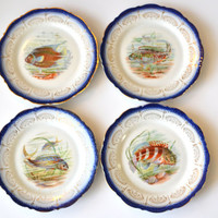 Set of 4 - 1800s Flow Blue Plates Depicting Hand Painted Game Fish