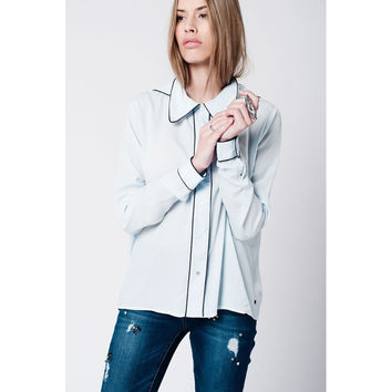 Blue shirt with contrast binding