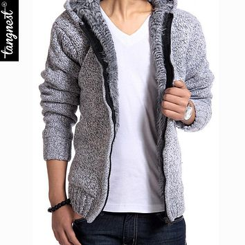 TANGNEST Men's Winter Sweater 2017 New Fashion Spring Autumn Thick Hooded Sweaters Cardigan Clothing Blusas Masculinas MZM179