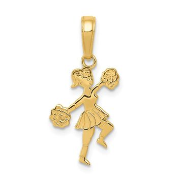14K Yellow Gold Cheerleader with Pom-Poms Pendant