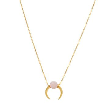 Gold Over Sterling Silver Petite Rose Quartz Double Horn-Crescent Moon Necklace